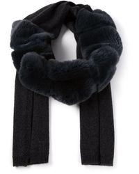 Yves Salomon | Blue Fur Detail Scarf | Lyst