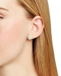 Carolee - White Faux Pearl Stud Earrings - Lyst