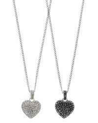 Judith Jack - Metallic Two Sided Marcasite Heart Necklace - Lyst