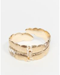 ASOS | Metallic Feather Cuff Bracelet In Gold for Men | Lyst