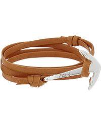 Miansai - Brown Anchor Leather Wrap Bracelet for Men - Lyst
