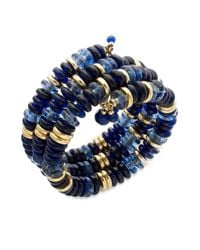Lauren by Ralph Lauren - Blue Goldtone Bead and Disc Threerow Coil Bracelet - Lyst
