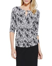 Vince Camuto | White Keyhole Neck Lace Print Top | Lyst