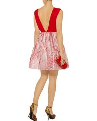 Alice + Olivia - Red Kirie Silk and Metallic Jacquard Dress - Lyst
