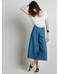 Free People - Blue Womens High Rise Chambray Gaucho - Lyst