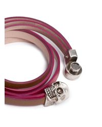 Alexander McQueen - Metallic Skull Double Wrap Colourblock Leather Bracelet - Lyst