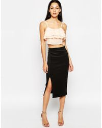 Club L - Natural Frill Front Crop Top - Lyst