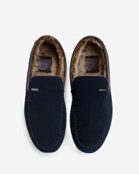 Ted Baker   Blue Faux Fur Moccasin Slippers for Men   Lyst