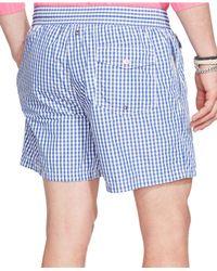 Polo Ralph Lauren | Blue Traveler Gingham Swim Short for Men | Lyst