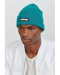 Stussy - Blue Rubber Patch Beanie for Men - Lyst