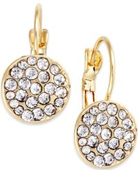 INC International Concepts | Metallic Gold-tone Pavé Disc Drop Earrings | Lyst