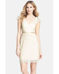 Jenny Yoo | White 'bridgitte' Cap Sleeve Lace Sheath Dress | Lyst