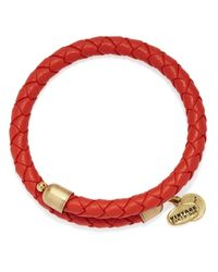 ALEX AND ANI - Red Vintage 66 Braided Leather Wrap Bracelet - Lyst