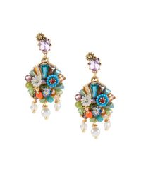 Betsey Johnson | Metallic Weave And Sew Beaded Cluster Earrings | Lyst