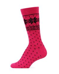 Ralph Lauren | Pink Angora Nordic Snowflake Polo Boot Socks | Lyst