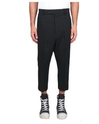 Rick Owens - Black Tux Cropped Astaires Trousers for Men - Lyst