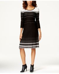 Nine West | Black Striped A-line Sweater Dress | Lyst