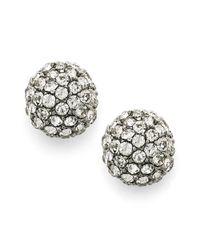 INC International Concepts | Metallic Silvertone Pave Fireball Stud Earrings | Lyst