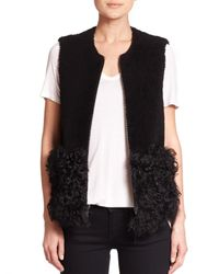 Loeffler Randall | Black Shearling Vest | Lyst