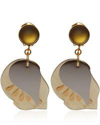 Marni - Natural Cream Petal Horn Clipon Earrings - Lyst