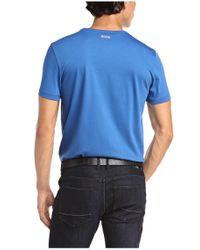 BOSS Green - Blue 'tee 1'   Cotton Graphic Logo T-shirt for Men - Lyst