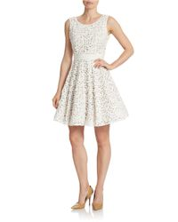 Xscape | White Laser-cut Fit-and-flare Dress | Lyst