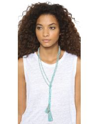 Chan Luu - Blue 42' Viscose Chiffon Paisley Necklace Or Bracelet With Beaded Trim - Lyst
