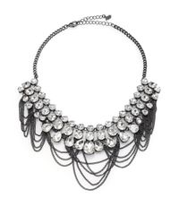 ABS By Allen Schwartz | Metallic Dark & Stormy Chained Jewel Bib Necklace | Lyst