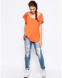 Wildfox - Orange Flirt T-shirt With Buttons - Lyst