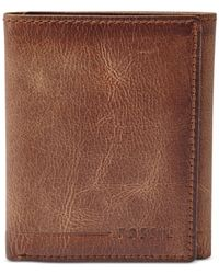 Fossil | Brown Brenner Trifold Wallet for Men | Lyst