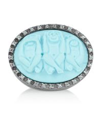 Amedeo | Blue Rhodium-Plated, Faux Turquoise And Topaz Monkey Cameo Ring | Lyst