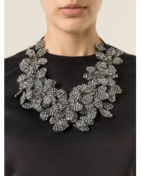 Night Market - Metallic Floral Crystal Necklace - Lyst