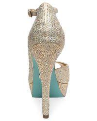 Betsey Johnson - Metallic Blue By Ivy Platform Evening Sandals - Lyst