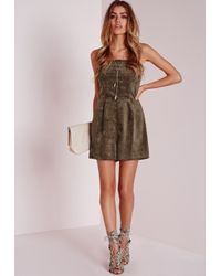 27759b7d97 Lyst - Missguided Corduroy Bandeau Playsuit Khaki in Natural