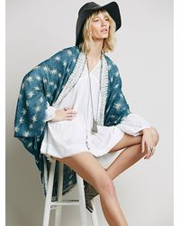 Free People | Blue Sammy Raw Edge Kimono | Lyst