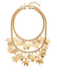 Oscar de la Renta - Metallic Seashell Two-row Necklace/goldtone - Lyst