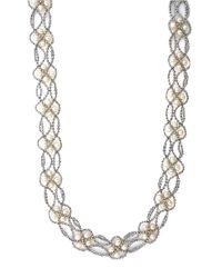 Effy | Metallic Sterling Silver And Freshwater Pearl Necklace | Lyst