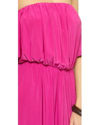 T-bags - Pink Strapless Ruffle Maxi Dress - Black - Lyst