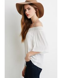 Forever 21 | Natural Crochet-trimmed Open-shoulder Top | Lyst