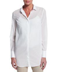 Brunello Cucinelli - White Long-sleeve Cotton Chiffon Blouse - Lyst