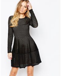 BCBGMAXAZRIA   Kyla A-line Lace Dress With Longsleeves In Black   Lyst