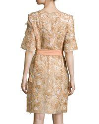 ESCADA - Metallic Half-sleeve Floral-applique Coat - Lyst
