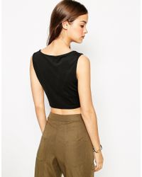 Daisy Street - Black Crop Top With Cut Out Neckline - Lyst