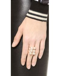 Kacey K - White Stack Ring With Cultured Freshwater Pearls - Pearl/Gold - Lyst