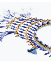 Zara | Blue Stones And Feathers Necklace | Lyst