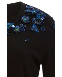 Zac Posen | Black Cotton Cashmere Embroidered Sweater | Lyst