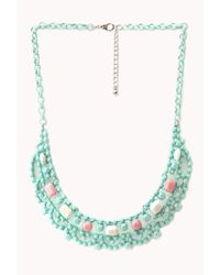 Forever 21 | Green Sweet Statement Bib Necklace | Lyst