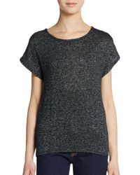 Ella Moss | Green Lace Panel Sparkle Knit Top | Lyst