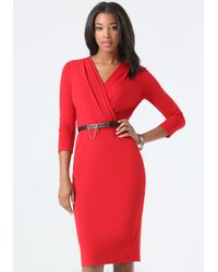 Bebe - Red Belted Surplice Midi Dress - Lyst