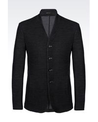 Armani | Gray Deconstructed Slim Fit Jacket In Virgin Wool for Men | Lyst